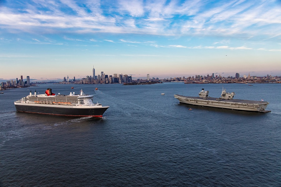 Cunard's-flagship-ocean-liner-Queen-Mary-2-greets-the-Royal-Navy-aircraft-carrier