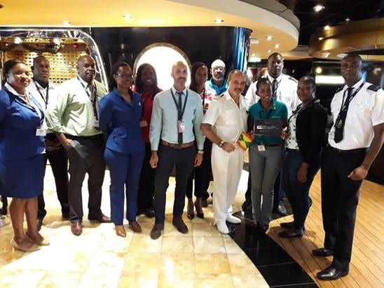 Team Grenada welcomes two new cruise ships on the same day