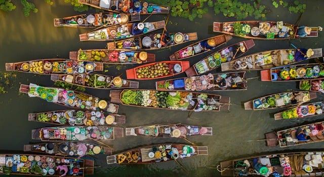 Tha-Kha-kelluvat markkinat-Samut-Songkhram