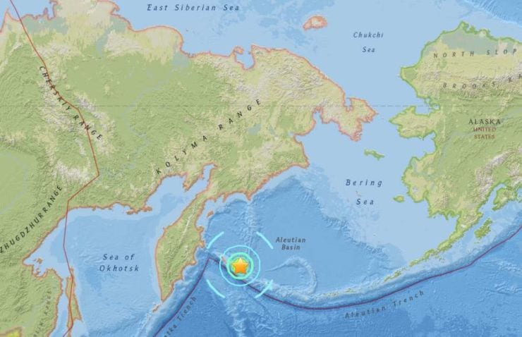 Massive 7.4 earthquake strikes Komandorskiye Ostrova, Russia