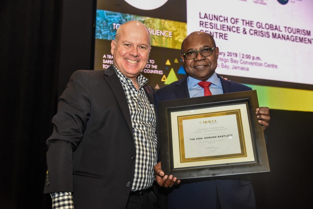 Jamaica's Tourism Minister Bartlett receives TRAVVY Award for Global Tourism Innovation