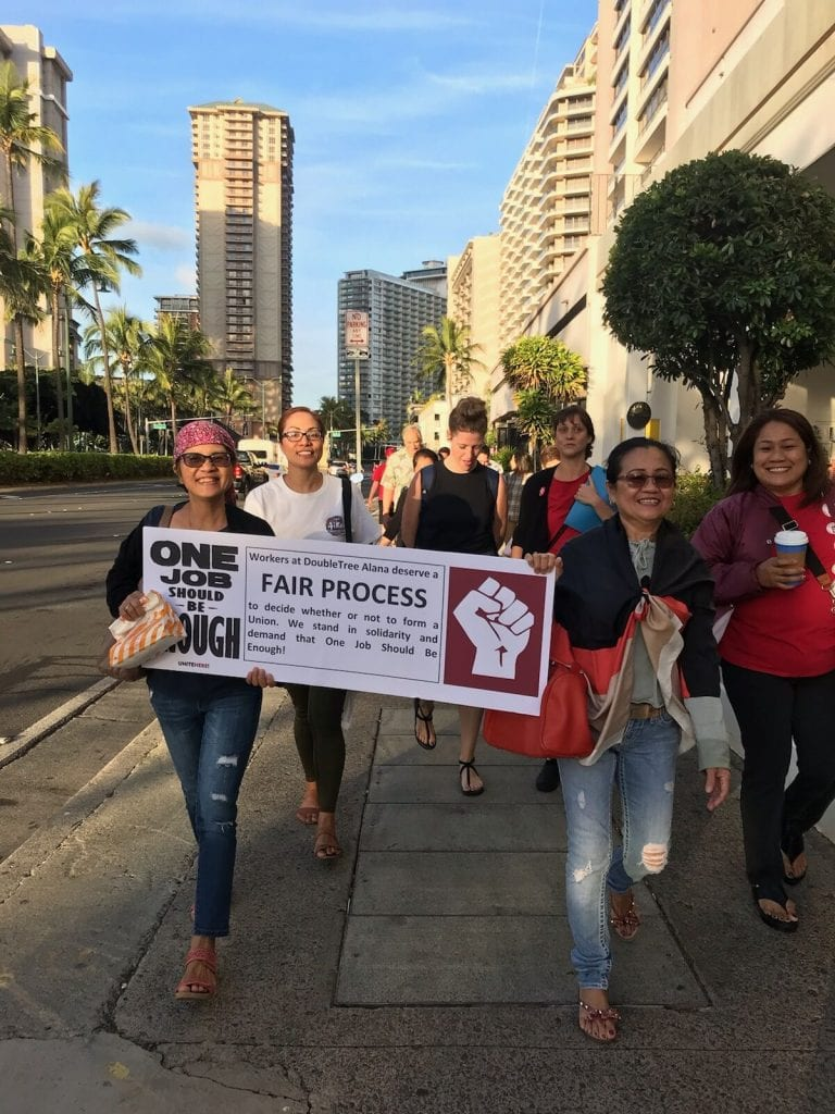 DoubleTree by Hilton Alana Waikiki Beach hotel workers call for respect from management