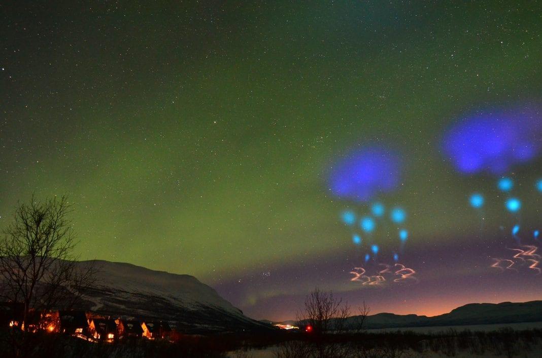 Strange blue lights over the arctic stun travelers