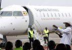 تحية المياه ترحب برحلة الخطوط الجوية الأوغندية الافتتاحية في مطار نيروبي