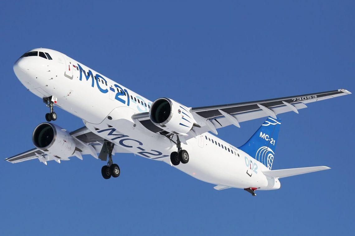 O mais novo jato Irkut MC-21-300 da Rússia faz seu primeiro voo internacional para a Turquia