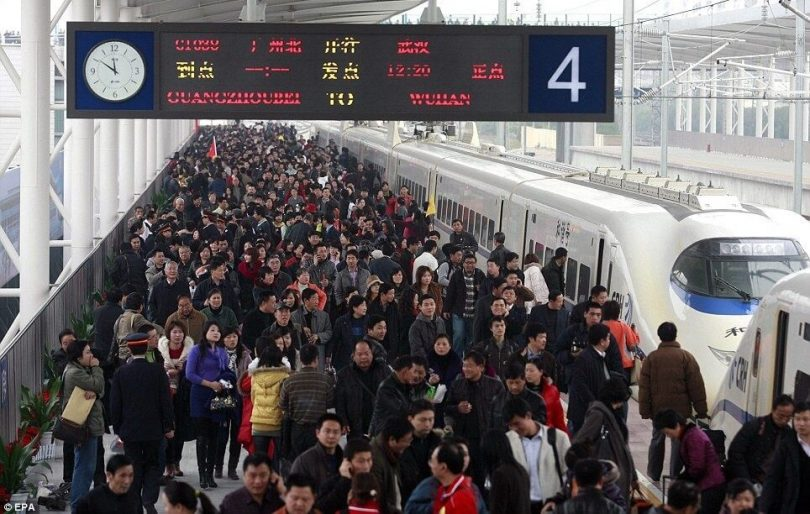 راه آهن چین: 2.8 میلیارد مسافر در سال 2019 تاکنون
