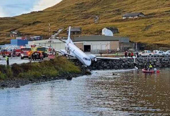 Alaska Airlines plane overshoots runway: 2 critically injured