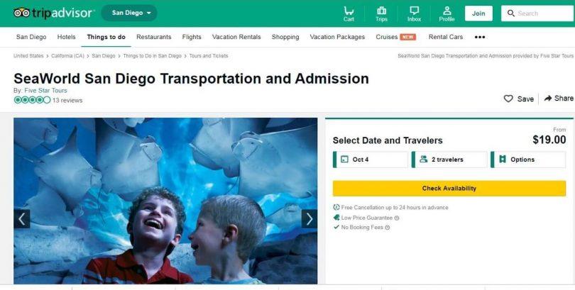 TripAdvisor ne vendra pas de billets pour SeaWorld mais les garde sur le site