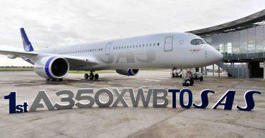 स्कैंडिनेविया के एसएएस अपने पहले एयरबस ए 350 एक्सडब्ल्यूबी की डिलीवरी लेते हैं