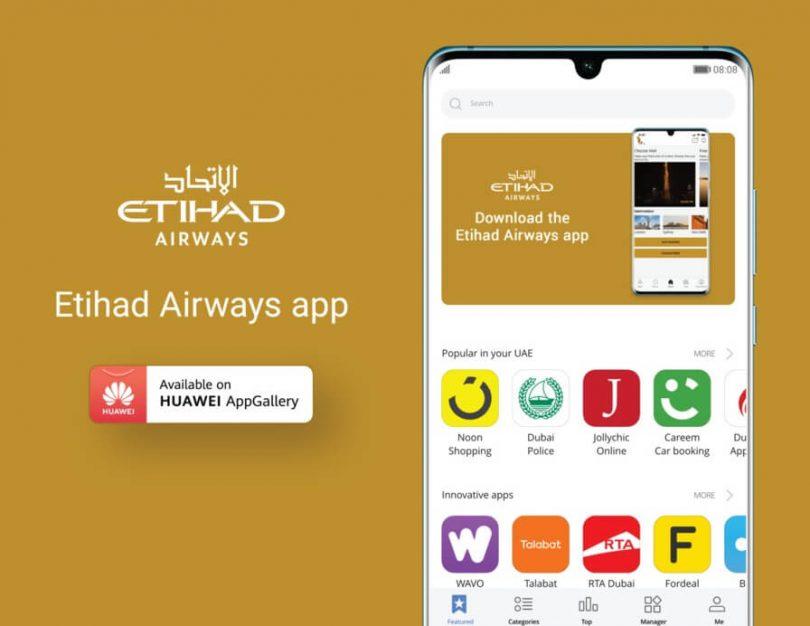 Etihad Airways startet die Huawei AppGallery App