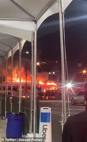 Three buses go up in flames at LAX-it lot, creating temporary chaos for travelers