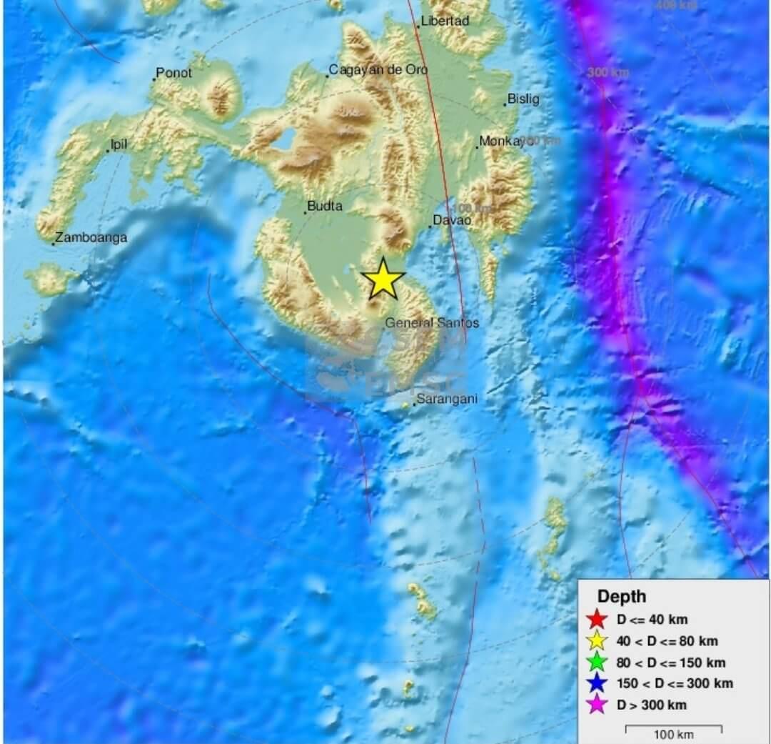 強い地震で揺れるフィリピンの島ミンダナオ