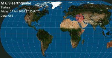 Silné zemětřesení M6.9 skály Turecko