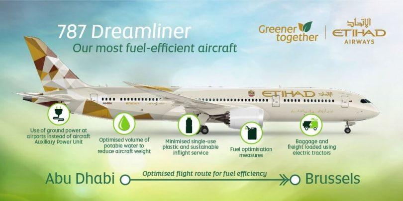 Etihad Airways operates eco-flight from Abu Dhabi to Brussels