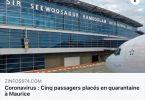 اندلاع فيروس كورونا: موريشيوس تضع 5 في الحجر الصحي