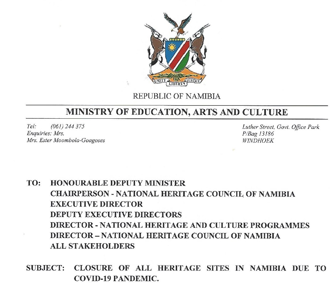 Намибија затвара локације туристичке баштине и издаје директиве