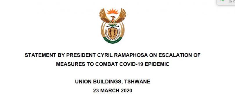 رونوشت قفل کردن آفریقای جنوبی: بیانیه رسمی رئیس جمهور سیریل رامفوسا