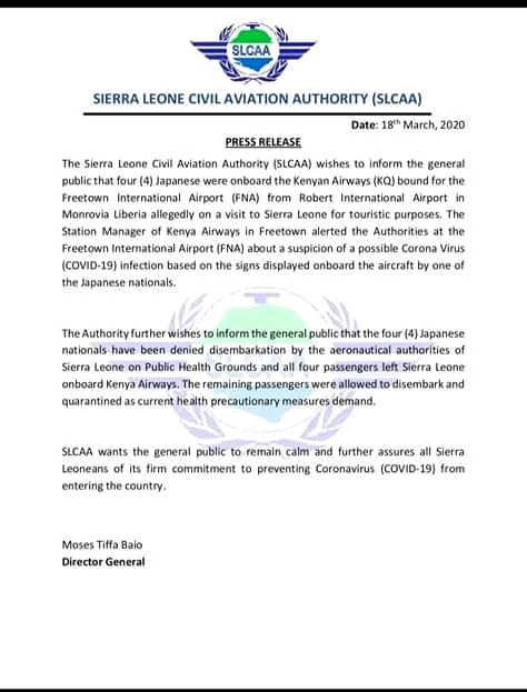 Sijera Leone deportira 4 japanska turista zbog koronavirusa