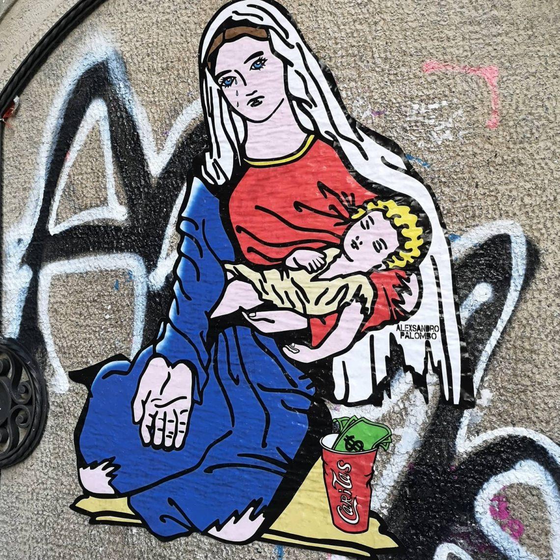 """""""Caritas"""": arte de rua que destaca a tragédia dos nossos dias"""