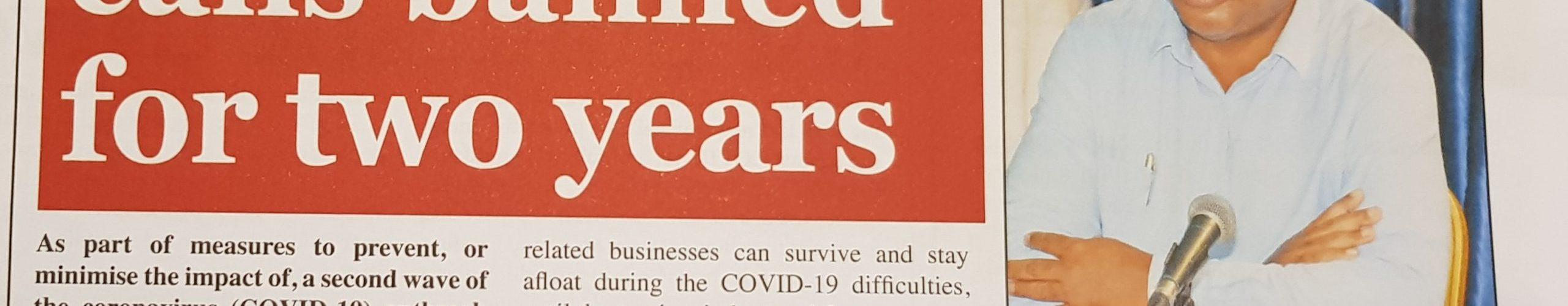 Voarara nandritra ny roa taona ny sambo fitsangantsanganana mba tsy hitrangan'ny valan'aretina COVID-19 faharoa
