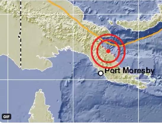 Massiewe aardbewing tref die streek in Port Moresby, Papoea-Nieu-Guinea