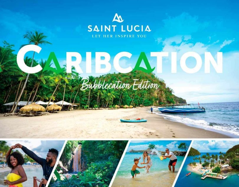 """Santa Lúcia dá as boas-vindas aos visitantes do Caribe por meio da campanha """"Bubblecation"""""""
