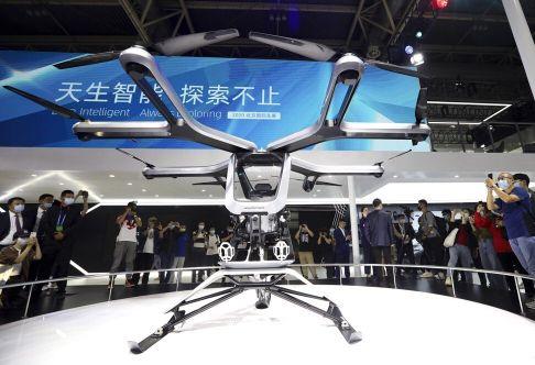 Fabricante de carros elétricos chinesa exibe protótipo de carro voador no salão do automóvel de Pequim