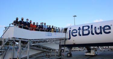 St. Maarten ຍິນດີຕ້ອນຮັບການບິນເປີດຕົວຂອງ JetBlue ຈາກ Newark, New Jersey