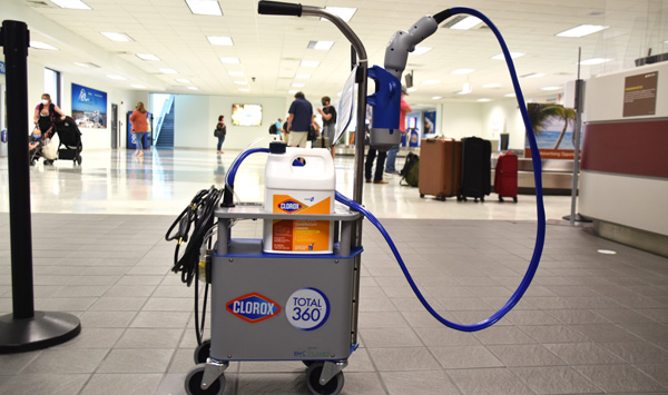 United Airlines using Clorox electrostatic sprayers to disinfect airport terminals