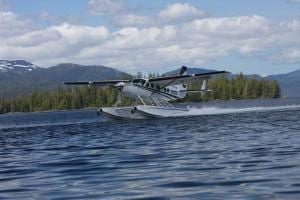 Floating Plane taking off for a Alaska Fishing Adventure