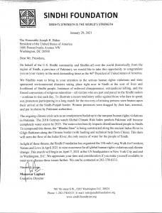 Sindhi Foundation open letter to President Joe Biden
