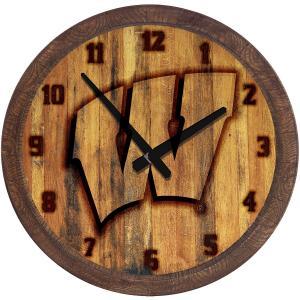 "Wisconsin Badgers: Branded ""Faux"" Barrel Top Wall Clock"