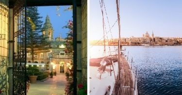 Malta L to R Palazzo Parisio by night Valletta Grand Harbour