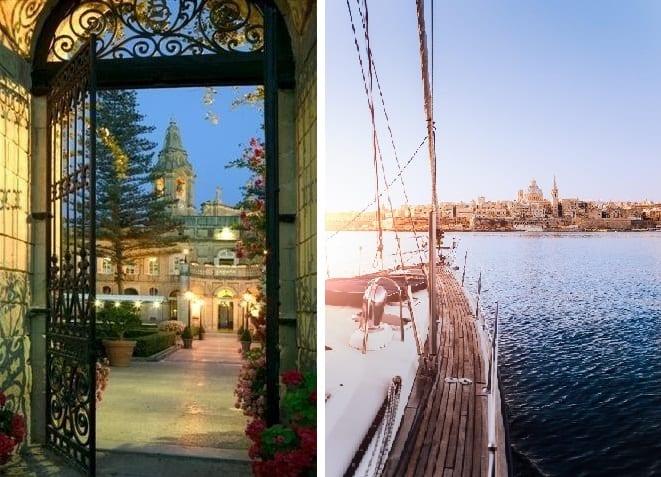 Malto L al R Palazzo Parisio nokte Valletta Grand Harbor