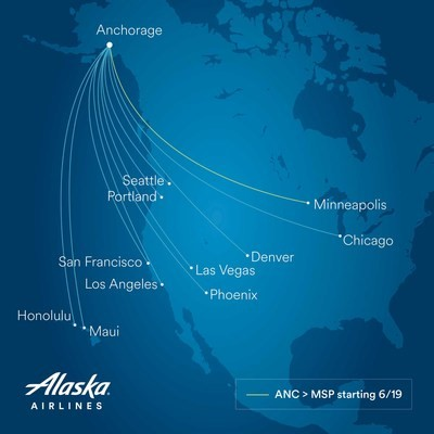 Alaska Airlines fügt neuen Nonstop-Flug von Anchorage nach Minneapolis-St. Paul