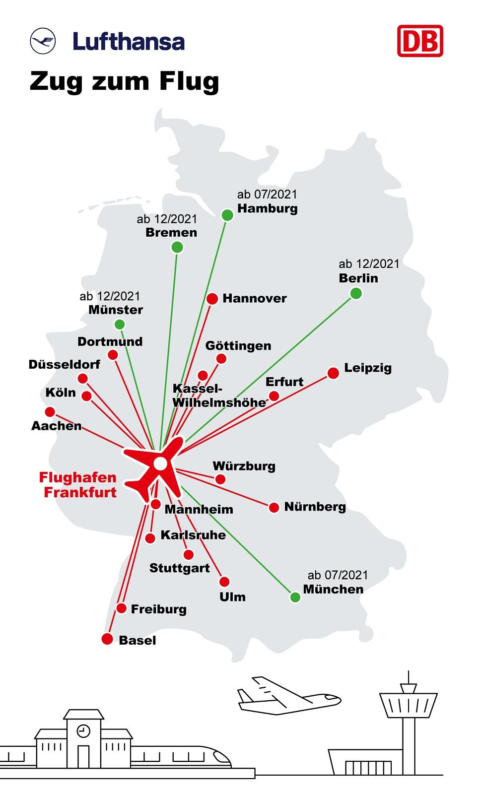 Lufthansa og Deutsche Bahn avdekker ekstra raske DB Sprinter-tog til Frankfurt lufthavn
