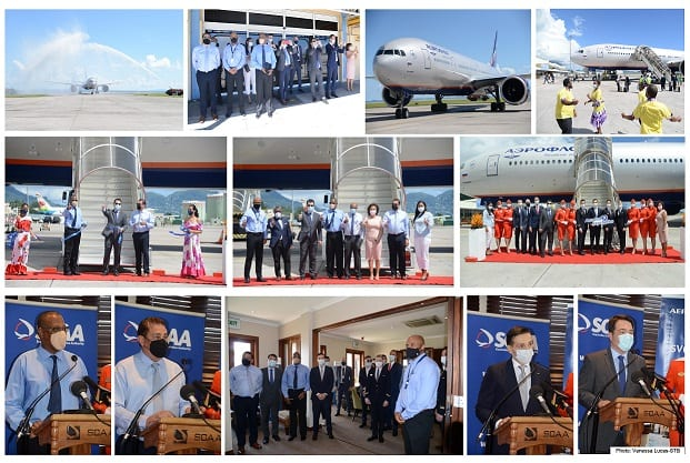 Aeroflot's inaugural flight touches down in Seychelles