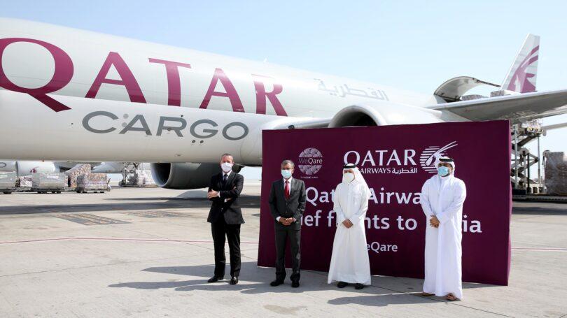 El convoy de carga de Qatar Airways lleva ayuda médica y equipos a la India
