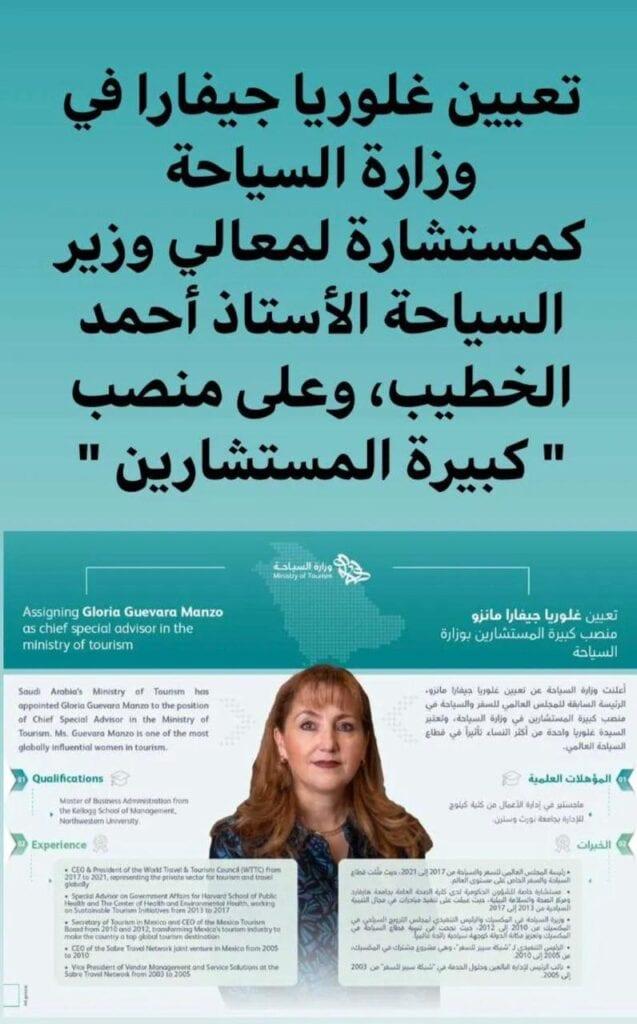 O le Minisita o Turisi a Saudi na faatoa faafaigaluegaina le sili ona Malosi Tamaitai i Turisi, Gloria Guevara