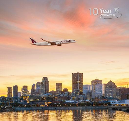 Qatar Airways markeart 10 jier Kanada-flechten