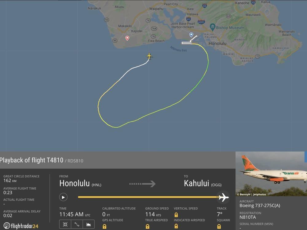 El avión Transair Boeing 737 realiza un aterrizaje de emergencia con AGUA en Hawái