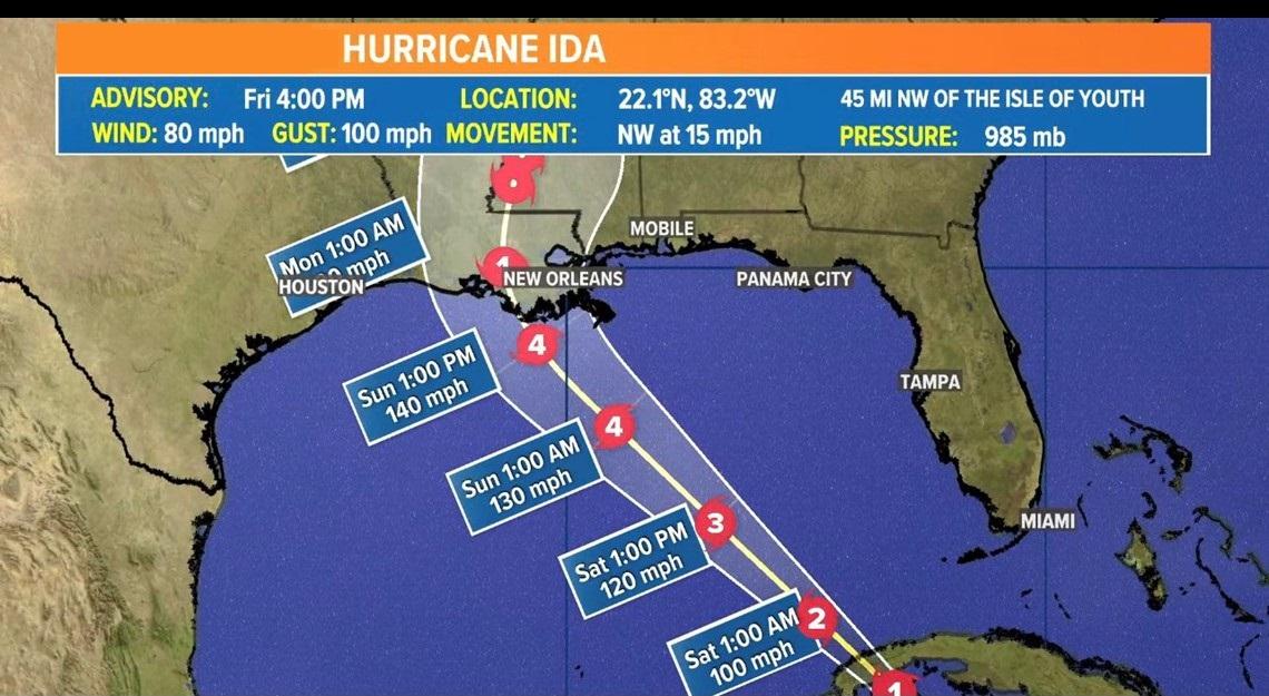 Obyvatelia New Orleans nariadili evakuáciu, keď sa blíži hurikán Ida
