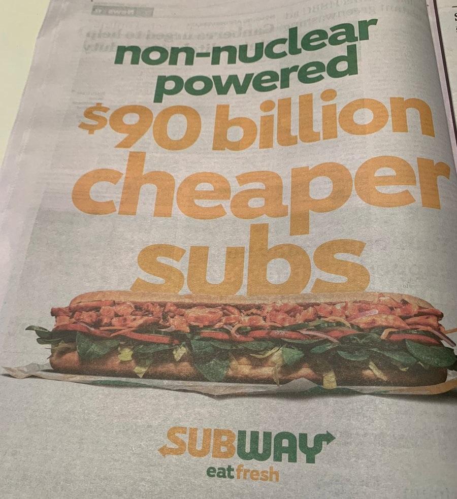 90 milliárd dollárral olcsóbb subok: a Subway gúnyolja a francia tengeralattjáró -megpróbáltatásokat