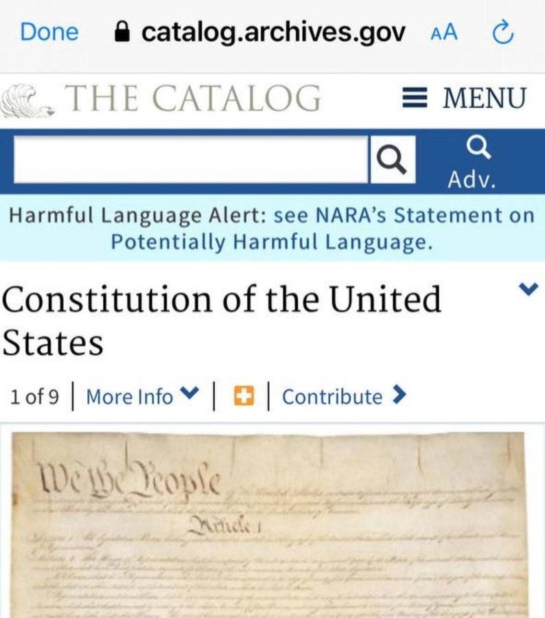 A Constituição e a Declaração de Independência dos EUA agora têm 'linguagem prejudicial'